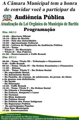 Convite Audiência Pública 06 e 07/11/2018